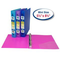Mini Size 3-Ring Poly Binder, 1 Inch Capacity, 1 Binder (Color May Vary) (Set of 6 EA)