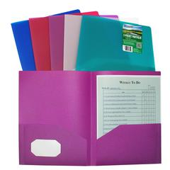 C-Line Biodegradable Two-Pocket Heavyweight Poly Portfolio, 1 Folder (Color May Vary) (Set of 18 EA)