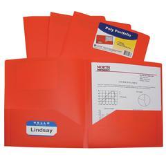 Two-Pocket Heavyweight Poly Portfolio Folder, Orange, 1/EA (Set of 18 EA)