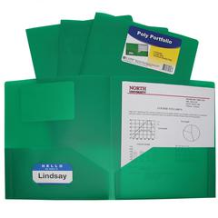 Two-Pocket Heavyweight Poly Portfolio Folder, Green, 1/EA (Set of 18 EA)