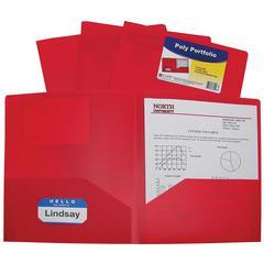 Two-Pocket Heavyweight Poly Portfolio Folder, Red, 1/EA (Set of 18 EA)