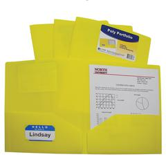Two-Pocket Heavyweight Poly Portfolio Folder, Yellow, 1/EA (Set of 18 EA)