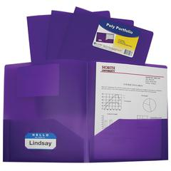 C-Line Two-Pocket Heavyweight Poly Portfolio Folder, Purple, 1/EA (Set of 18 EA)
