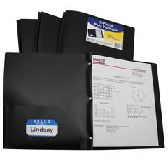 C-Line Two-Pocket Heavyweight Poly Portfolio Folder with Prongs, Black, 1/EA (Set of 12 EA)
