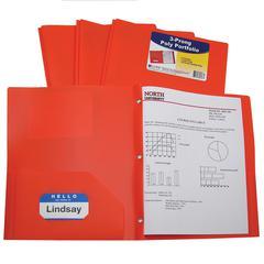 C-Line Two-Pocket Heavyweight Poly Portfolio Folder with Prongs, Orange, 1/EA (Set of 12 EA)