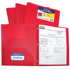 Two-Pocket Heavyweight Poly Portfolio Folder with Prongs, Red, 1/EA (Set of 12 EA)