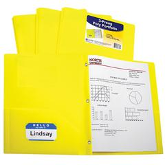 C-Line Two-Pocket Heavyweight Poly Portfolio Folder with Prongs, Yellow, 1/EA (Set of 12 EA)
