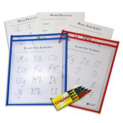 Reusable Dry Erase Pocket Study Aid Kit, Assorted Primary Colors, 9 x 12, 1/PK