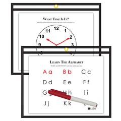 C-Line Horizontal Reusable Dry Erase Pocket, Black, 12 x 9 (Set of 10 Pockets)