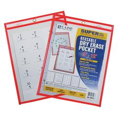 Reusable Dry Erase Pocket, Neon Red, 9 x 12, 1/EA (Set of 10 EA)