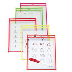Reusable Dry Erase Pockets, Assorted Neon Colors, 6 x 9, 10/PK (Set of 2 PK)
