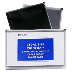 Zip 'N Go Reusable Envelope, Black, Legal Size, 15 X 12, 5/PK (Set of 2 PK)
