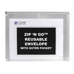 Zip 'N Go Reusable Envelope with Outer Pocket, Clear, 3/PK (Set of 4 PK)