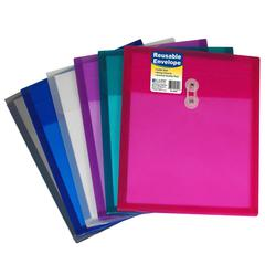 Reusable Poly Envelope with String Closure, Top Load, 1 Envelope (Color May Vary) (Set of 24 EA)