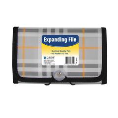 13-Pocket Coupon Size Expanding File, Plaid, 1/EA (Set of 6 EA)