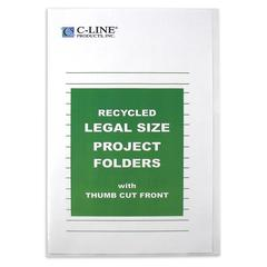 Recycled Project Folders, Clear, Reduced Glare, LEGAL, 14 x 8 1/2, 25/BX (Set of 2 BX)