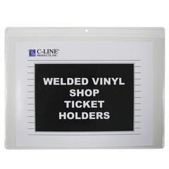 Shop Ticket Holders, Welded Vinyl, Both Sides Clear, Open Long Side, 12 X 9, 50/BX