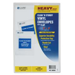 C-Line Clear 'N Sturdy Vinyl Envelopes with Flap, 6 x 9, 1/EA (Set of 50 EA)