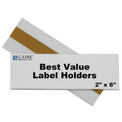 Best Value Peel & Stick Shelf/Bin Label Holders, 2 Inch x 6 Inch Removable Adhesive Label Holder, 50/PK