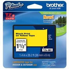 BROTHER INTL. CORP. TZ Standard Adhesive Laminated Labeling Tape, 1-1/2w, Black on Yellow