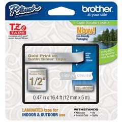 "BROTHER INTL. CORP. TZ Standard Adhesive Laminated Labeling Tape, 1/2"" x 16.4 ft., Gold/Silver"