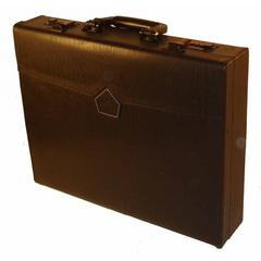 "3.5"" Professional Leather Look Attache Briefcase with Dual Combination Locks"