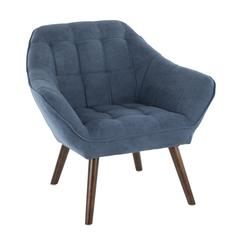 Boulder Mid-Century Modern Accent Chair in Blue Fabric by LumiSource