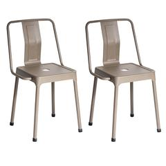 Pair of Industrial Style Energy Chairs in Cappuccino Finish