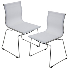 LumiSource Mirage Stackable Dining Chair White, Set of 2