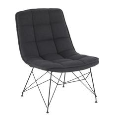 Quad Contemporary Accent Chair in Black and Black Fabric by LumiSource