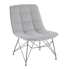Quad Contemporary Accent Chair in Black and Light Grey Fabric by LumiSource