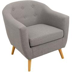 Rockwell Mid Century Modern Accent Chair in Light Grey