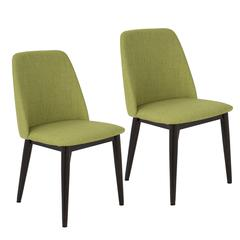 LumiSource Tintori Mid-Century Dining Chairs in Green Fabric  Brown Wood / Green Fabric, Set of 2