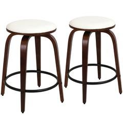 Porto Counter Stools with Swivel  Cherry / White, Set of 2
