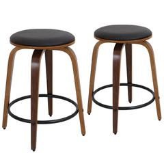 Porto Counter Stools with Swivel  Walnut / Brown, Set of 2