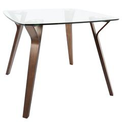 Folia Mid-Century Modern Dining Table in Walnut and Glass by LumiSource