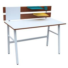 LumiSource Bench Desk, Brown / White