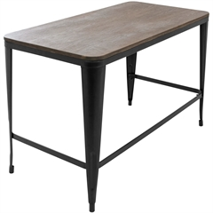 LumiSource Pia Wood Top Desk, Espresso Top / Black