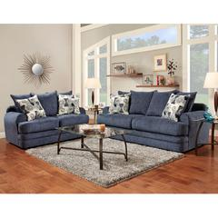 Exceptional Designs by Flash Living Room Set in Caliber Navy Chenille