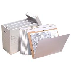 "VFile25 W/10 VFolder25, Vertical Flat File System Filing Box, Stores Flat Items Up to 18""x24"""
