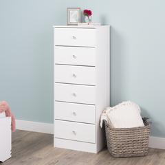 Astrid 6-Drawer Tall Chest, Crystal White
