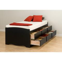 Prepac Black Tall Twin Captain's Platform Storage Bed with 6 Drawers