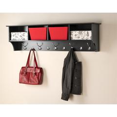 "Black 60"" Wide Hanging Entryway Shelf"
