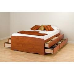 Prepac Cherry Tall Queen Captain's Platform Storage Bed with 12 Drawers