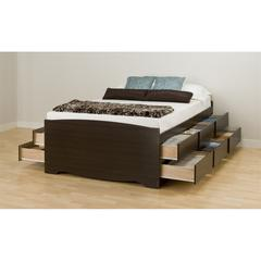 Prepac Espresso Tall Queen Captain's Platform Storage Bed with 12 Drawers