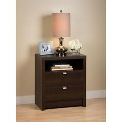 Prepac Espresso Series 9 Designer - Tall 2 Drawer Nightstand