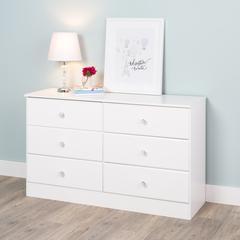 Astrid 6-Drawer Dresser, Crystal White