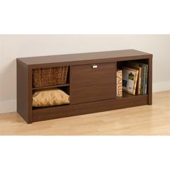 Prepac Warm Cherry Series 9 Designer Cubbie Bench with Door