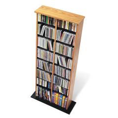 Prepac Oak & Black Double Multimedia Storage Tower