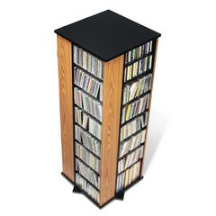 Prepac Oak & Black 4-Sided Spinning Tower